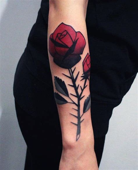 rose with thorns tattoo 120 meaningful designs forearm tattoos