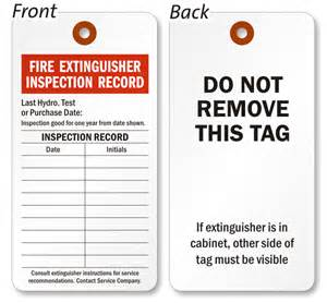 Extinguisher Inspection Tag Template by Extinguisher Tags Extinguisher Inspection Tags