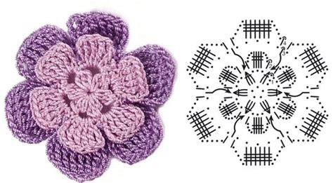 diagram crochet flower crochet flowers diagram 6
