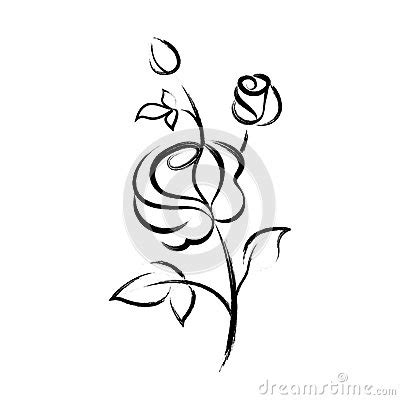 imagenes de flores para dibujar que sean faciles black hand drawn rose isolated on white background stock