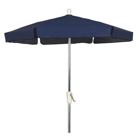 Aluminum Patio Umbrella 7 5 Ft Bright Aluminum Patio Umbrella In Navy Vinyl Coated Weave 7gcra Nb The Home Depot