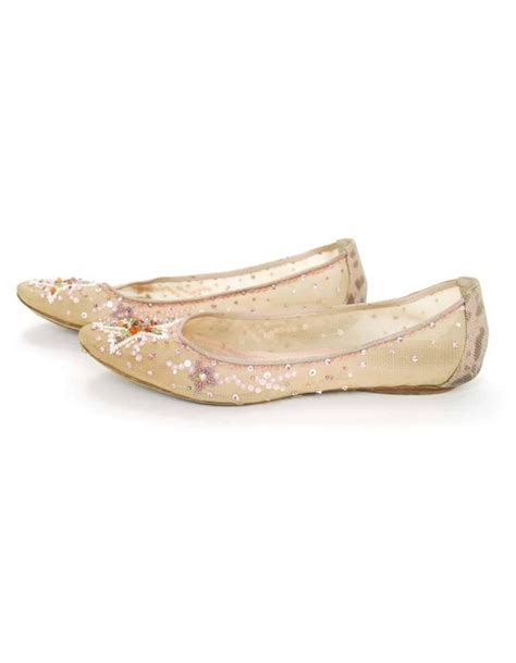 beaded ballet flats rene caovilla beige beaded ballet flats sz 40 for sale at