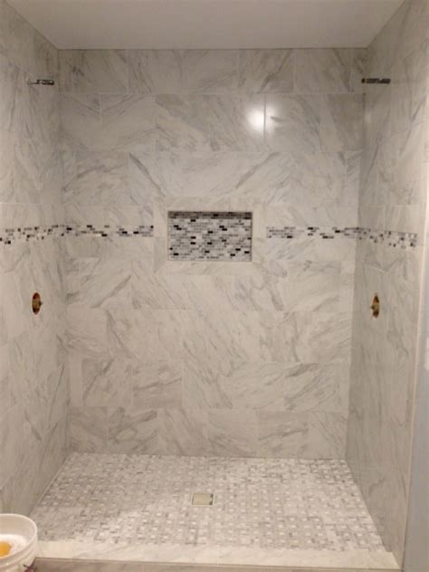 lowes bathroom tile for walls my shower is almost finished porcelain quot marble quot tile