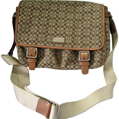Signature Wilbury Messenger Bag by Coach Khaki Signature Messenger Bag Coach Monogram