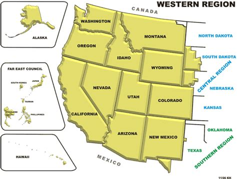 map usa western states pics for gt us western region blank