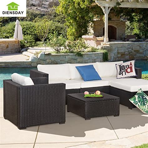 All Weather Wicker Patio Furniture Clearance Diensday 6 All Weather Cushioned Outdoor Patio Pe Rattan Wicker Sofa Sectional Furniture