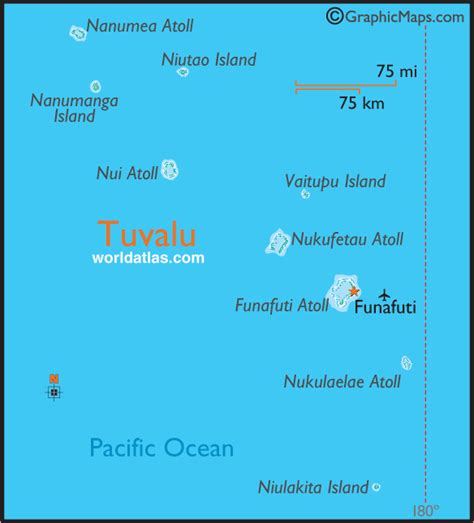 tuvalu on world map tuvalu large color map by world atlas
