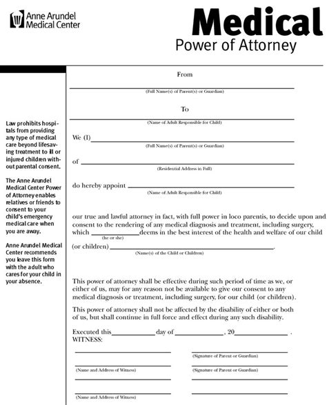 medical proxy form affidavit of residence power of