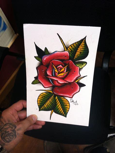 flash tattoo rose 6x9 original spitshade watercolor flash