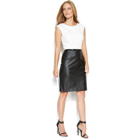 calvin klein sleeveless colorblock belted dress with faux