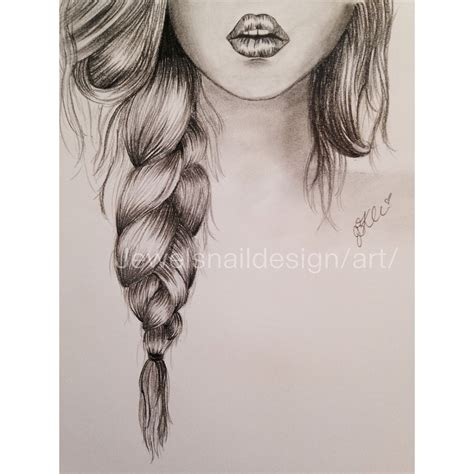 themes girl beautiful lips braid simple sketch sketches pinterest