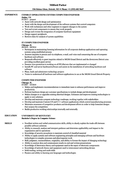 Computer Engineering Resume by Computer Engineer Resume Sles Velvet