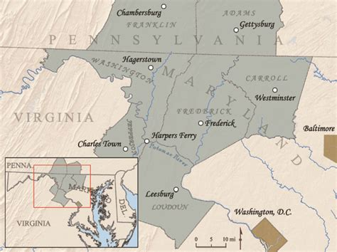 maryland map and surrounding states discover the story crossroads of war