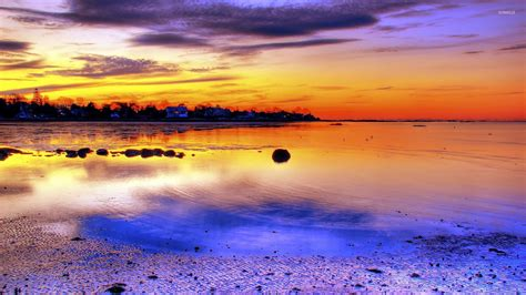 wallpapers beach colorful colorful sunset on the coast wallpaper beach wallpapers