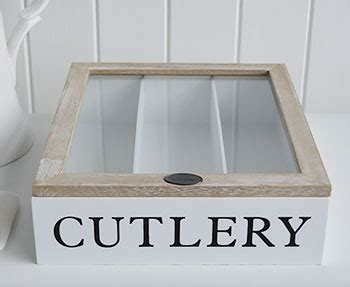 white cutlery box  lid   white lighthouse