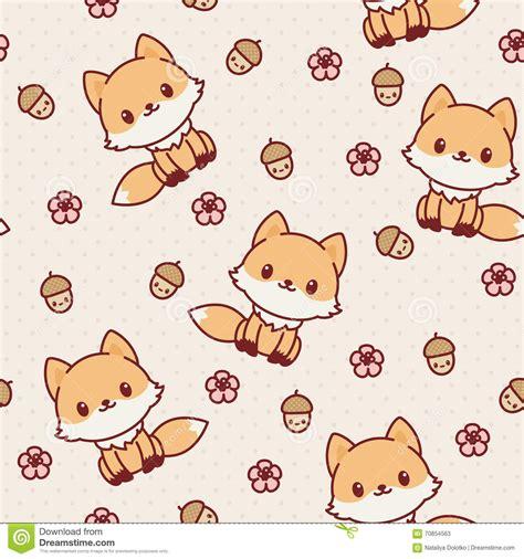 imagenes kawaii de zorros papier peint sans couture de renard de kawaii illustration