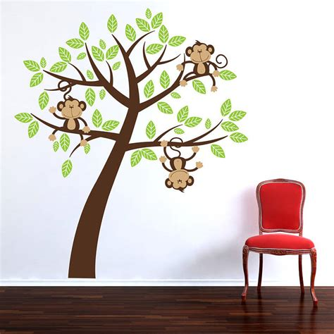 tree wall sticker childrens cheeky monkey tree wall stickers by parkins interiors notonthehighstreet