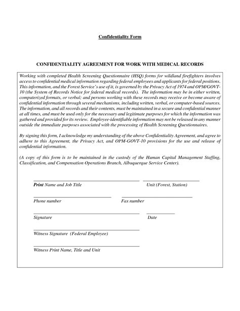 secrecy agreement template 28 images of confidentiality release form template