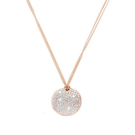 cirque clear gold tone pendant necklace