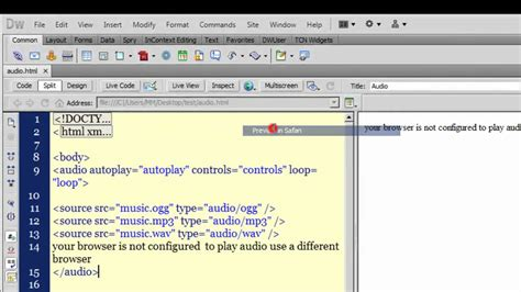 youtube tutorial dreamweaver 8 dreamweaver cs5 tutorial playing audio with dreamweaver
