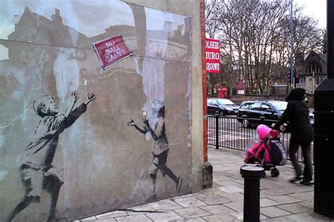art attack  banksy mural removed  wall  sale