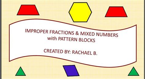 pattern blocks mixed numbers improper fractions to mixed numbers task cards based on