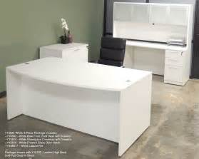 White Office Table White 4 Piece Office Furniture Package