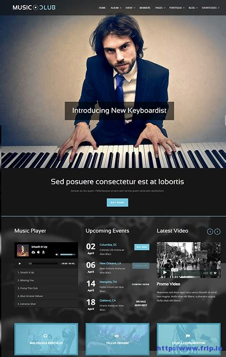 theme music club 80 best wordpress music theme 2016 for musicians frip in