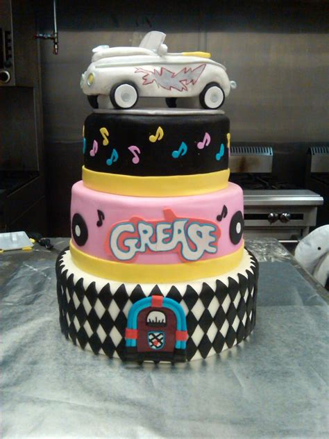 theme cake decorations quot grease quot themed dummy cake cakecentral