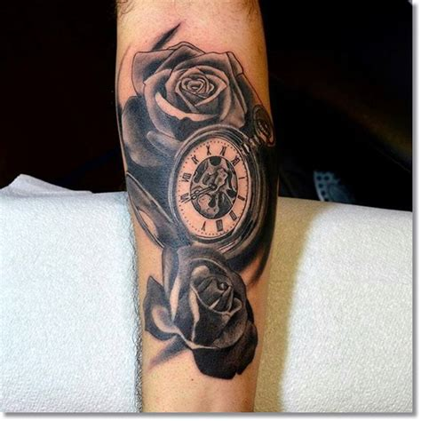 pocket watch with roses tattoo 45 outstanding pocket tattoos made golfian