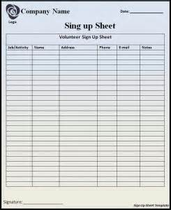 sign up sheet template word templates