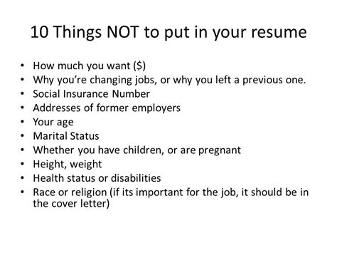 never put these things on your résumé business insider