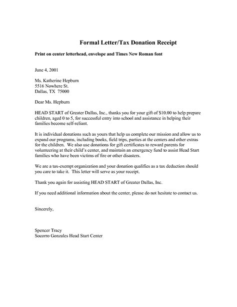 letter template for a in donation receipt best photos of formal letter for donations sle