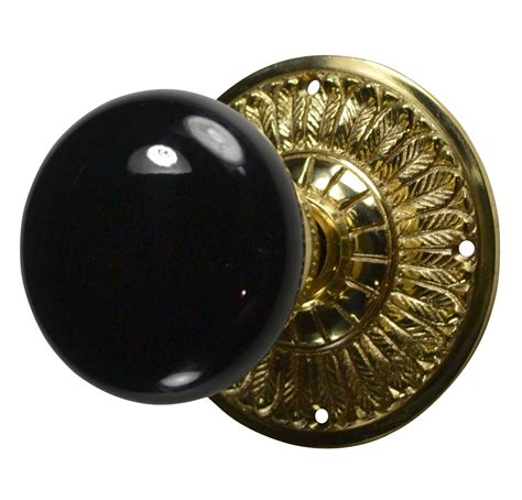 Porcelain Door Knobs Feathers Black Porcelain Door Knob Polished Brass Finish