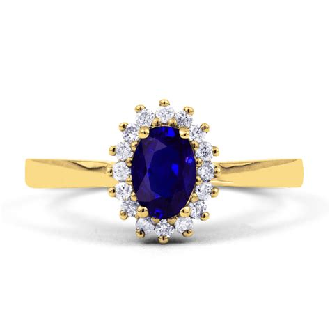9ct yellow gold blue sapphire engagement
