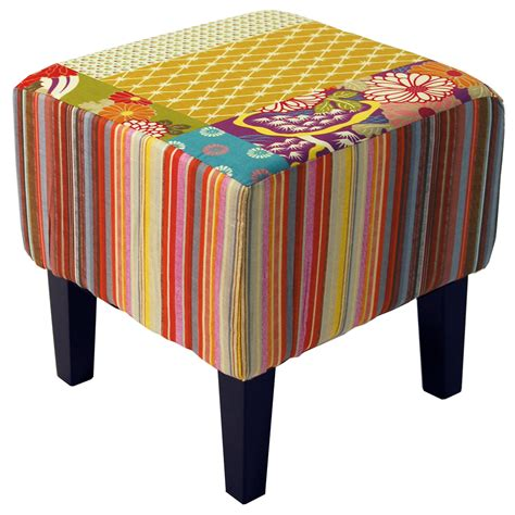 Shabby Square 2 patchwork shabby chic square pouffe padded stool wood