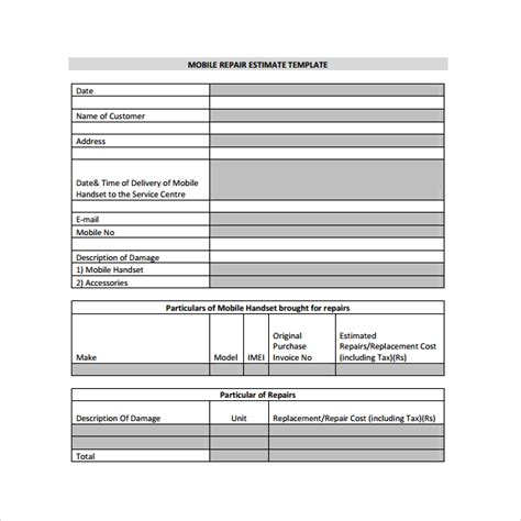 9 Sle Estimate Templates Sle Templates Mobile App Estimation Template