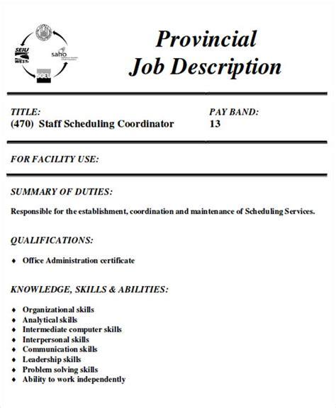 scheduling coordinator description sle 8 exles in word pdf