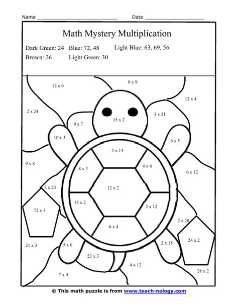 printable w 9 form louisiana multiplication facts worksheets color silly turtle