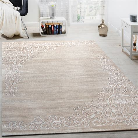 teppich beige designer rug with floral pattern and shimmering yarn in