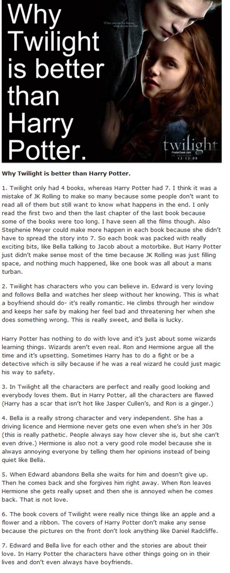 why is better harry potter is better than twilight www imgkid