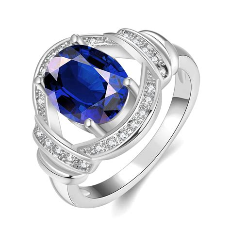 silver plated ring rings blue big rings for