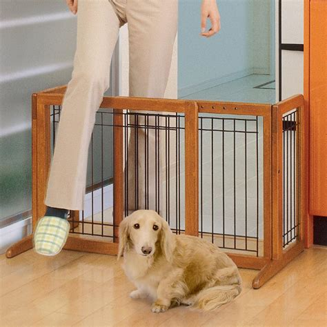 house gate for dogs freestanding pet gate dog extra wide large wood safety adjustable indoor barrier