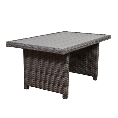 Wicker Patio Dining Table Brown Greystone Patio Dining Table With Umbrella Stock Dyt005 Tr The Home Depot