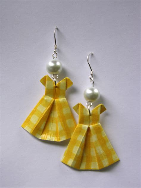 origami earrings yellow gingham origami dress earrings