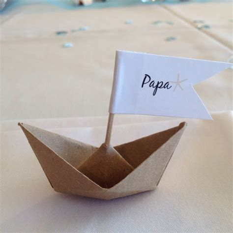 Origami Name Card - origami boat place card for papa themed