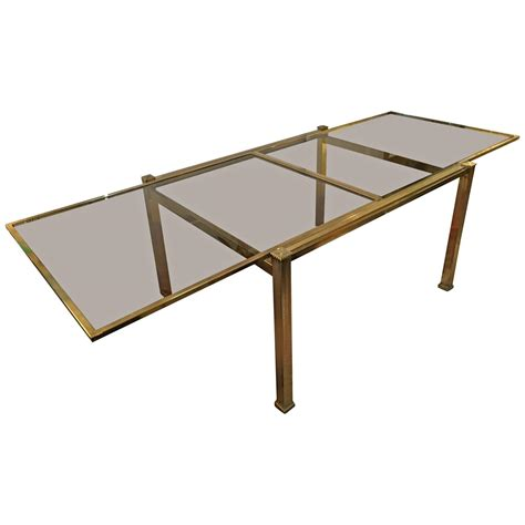 Glass Dining Table With Extension Mastercraft Brass And Smoked Glass Extension Dining Table