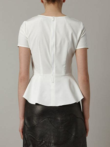 White Peplum Blouse dkny peplum blouse in white lyst