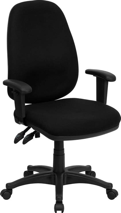 Computer Chair Adjustable Arms by Flash Furniture High Back Black Fabric Ergonomic Computer