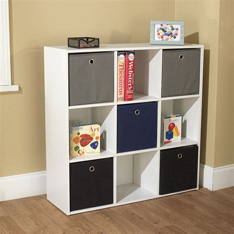 Bookcase With Fabric Bins utility bookcase tower with 5 fabric bins colors walmart
